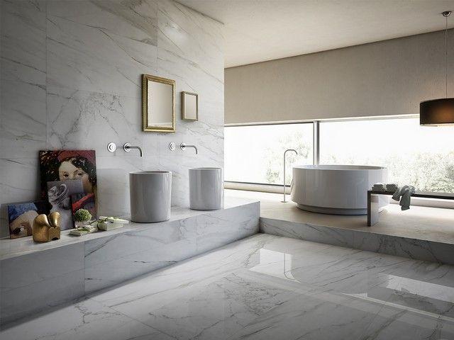 Gres porcellanato levigato effetto marmo luni iperceramica