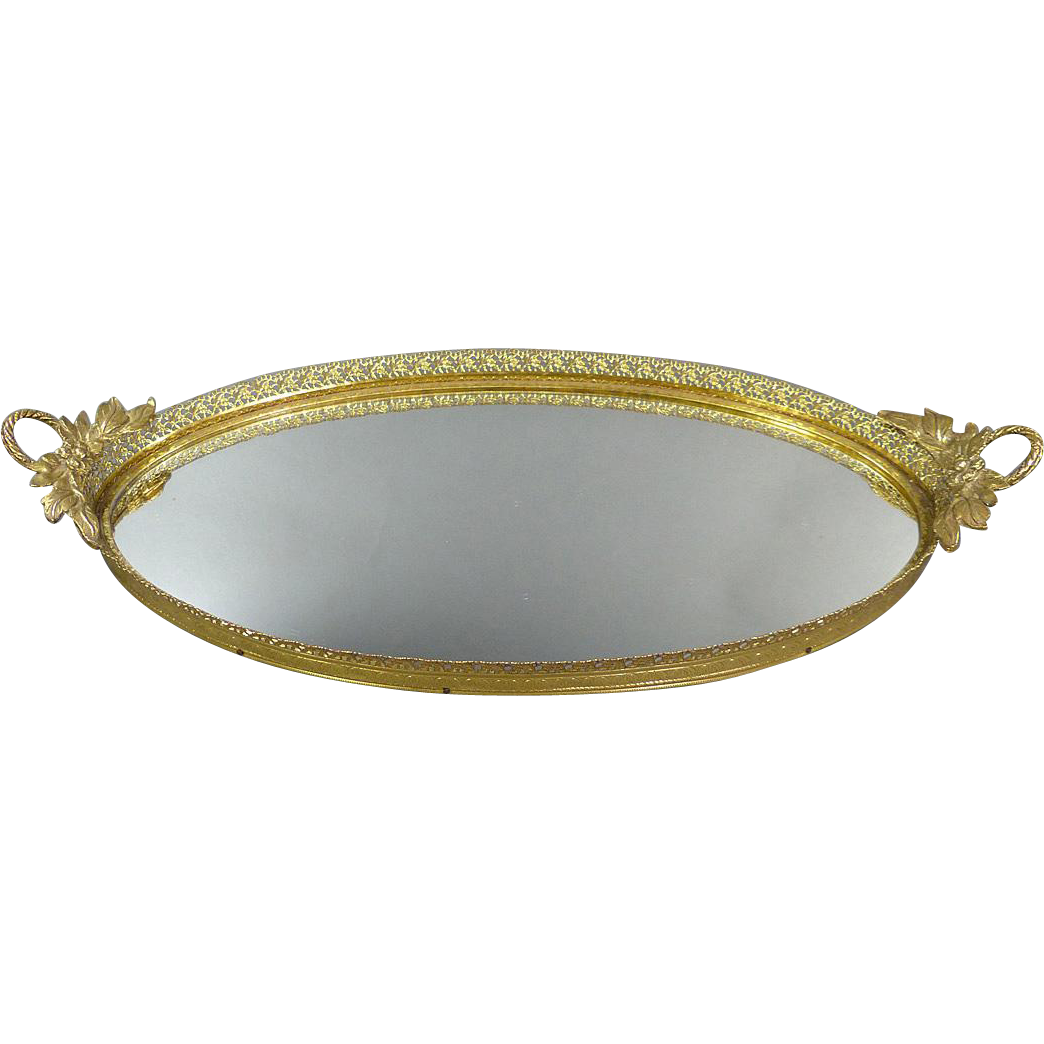 Vintage matson mirrored vanity tray with roses mirror vanity