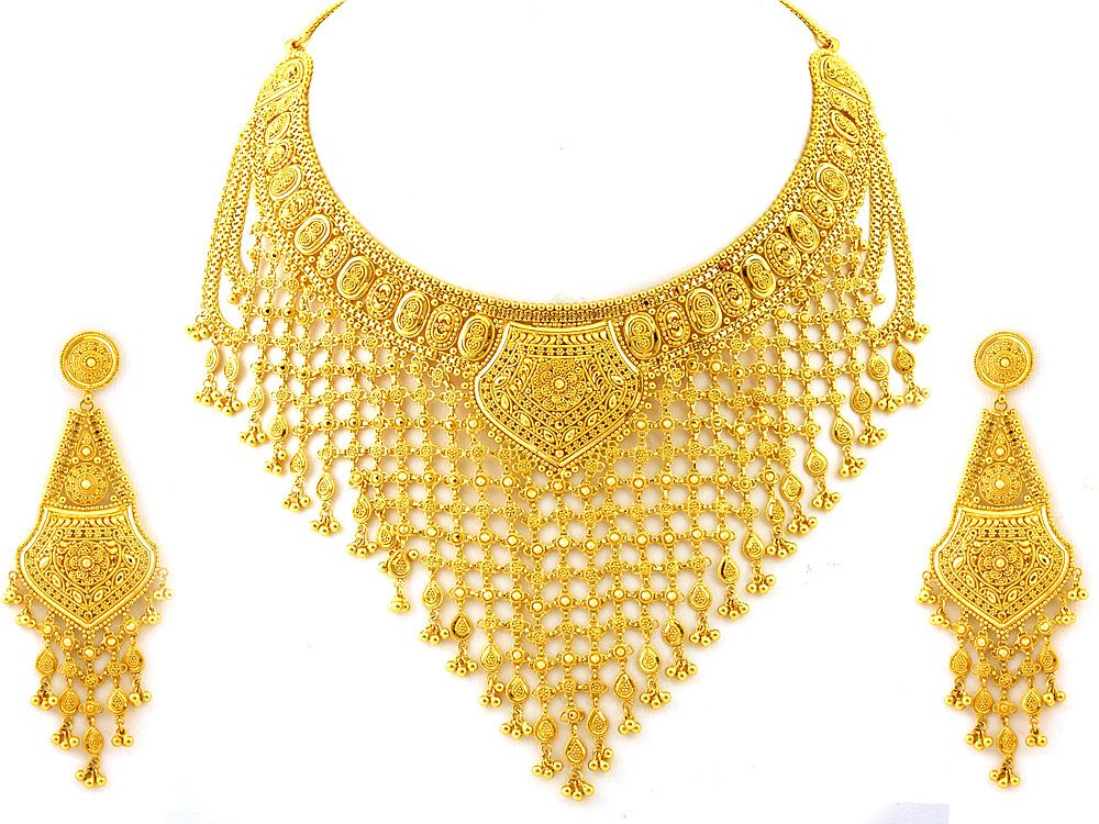 india products   Indian Jewellery 112.90g 22kt Gold Heavy Necklace ...