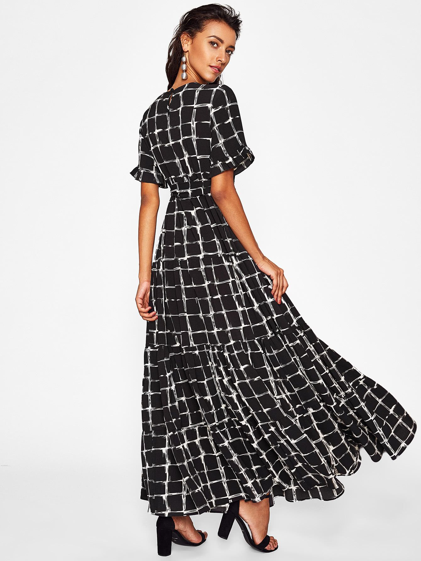 c22cbbad4e57 Frilled Sleeve Brush Stroke Grid Tiered Dress -SheIn(Sheinside) | My ...