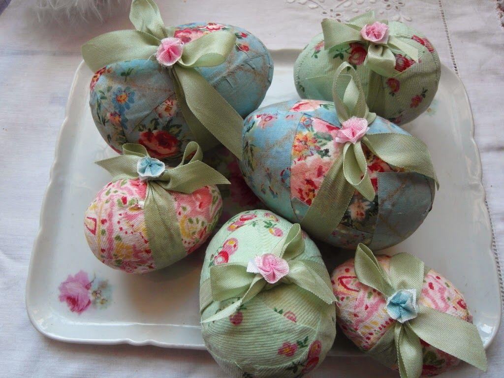 vintage fabric Easter eggs