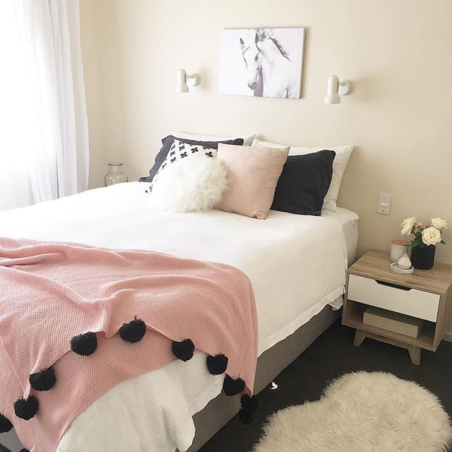Scandi Nordic Style Bedroom In Black White And Pink Horse Print Mocka Nz Side Table Faux Sheepsk White Room Decor Horse Decor Bedroom Pink Black Bedrooms