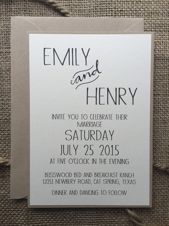 Rustic Modern Wedding Invitation Elegant Simple By Alukedesigns