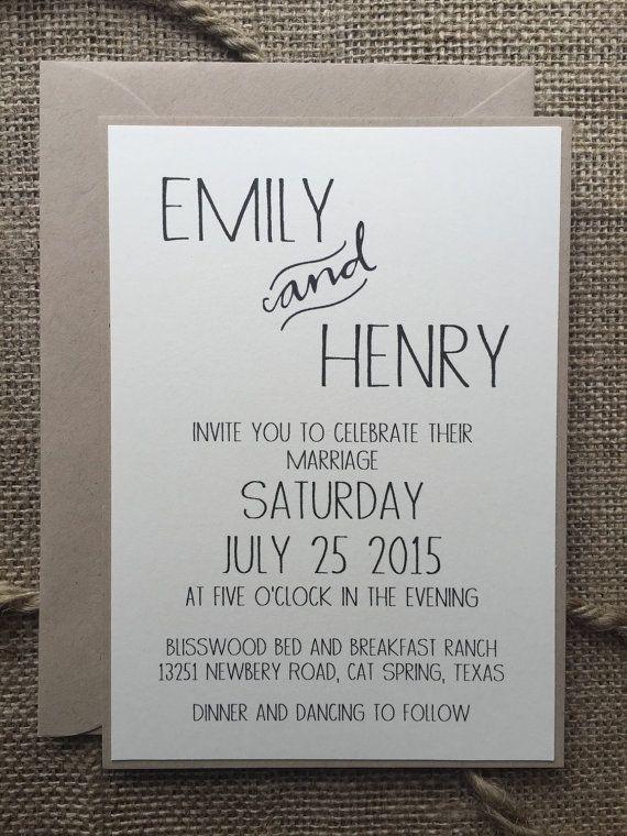 Rustic Modern Wedding Invitation Elegant Simple by aLukeDesigns