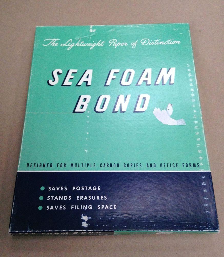 Vintage Box Brownville Paper Co. Seafoam Bond Unglazed White Copy Paper Ream #9
