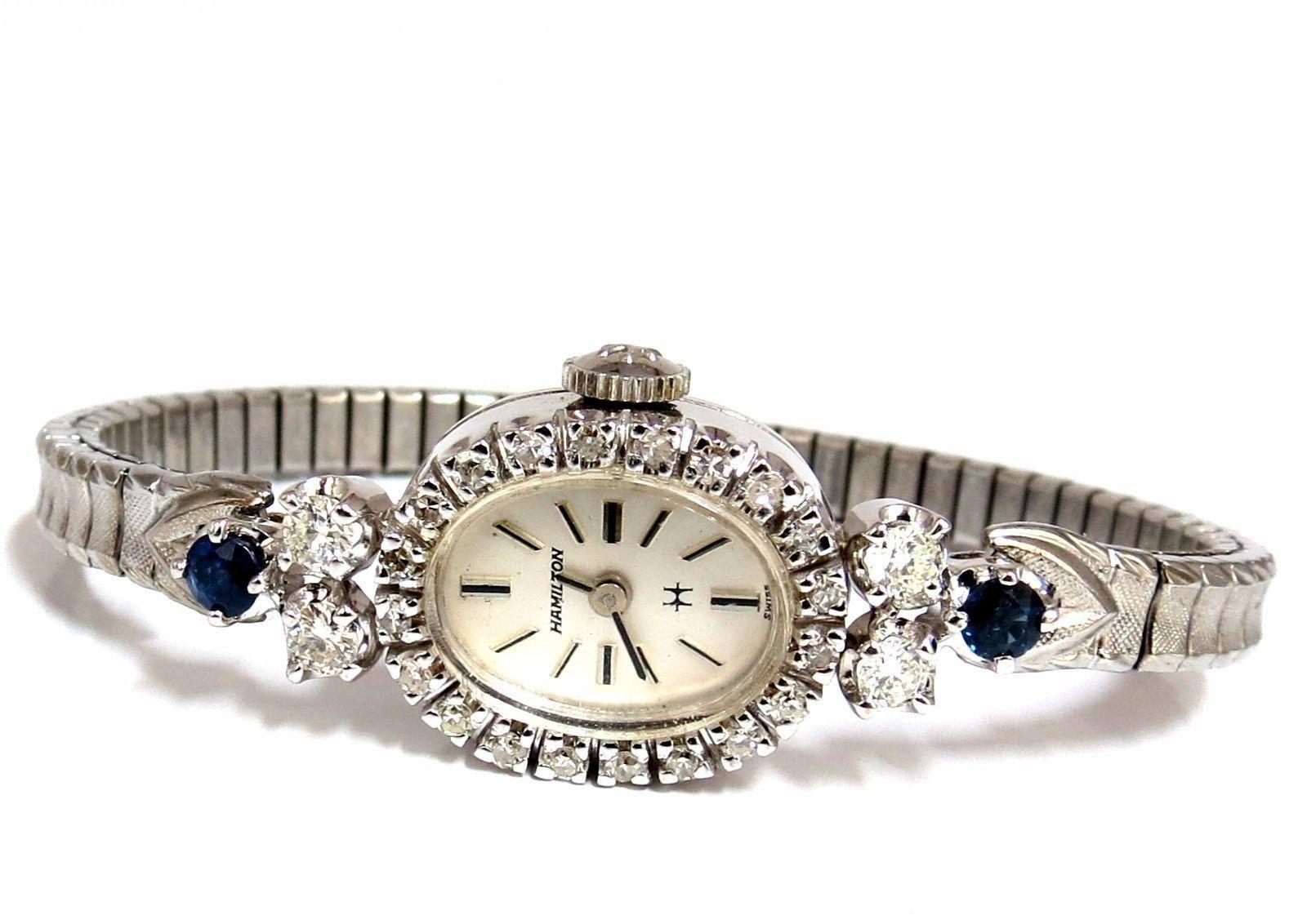 Hamilton Ladies watch 1.40ct. sapphire diamonds 14kt.