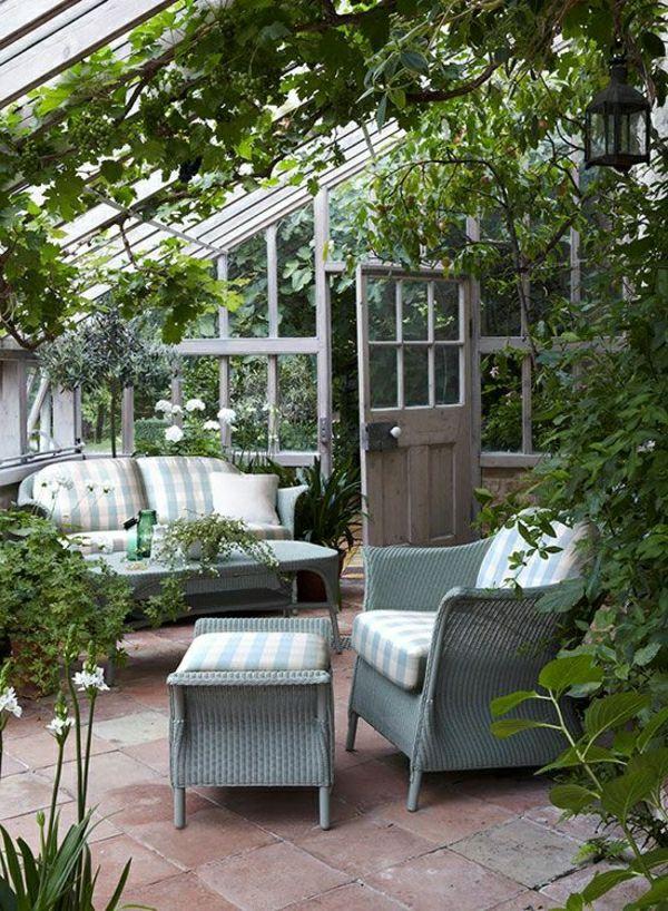 wintergarten selber bauen rattanmöbel Garten Pinterest