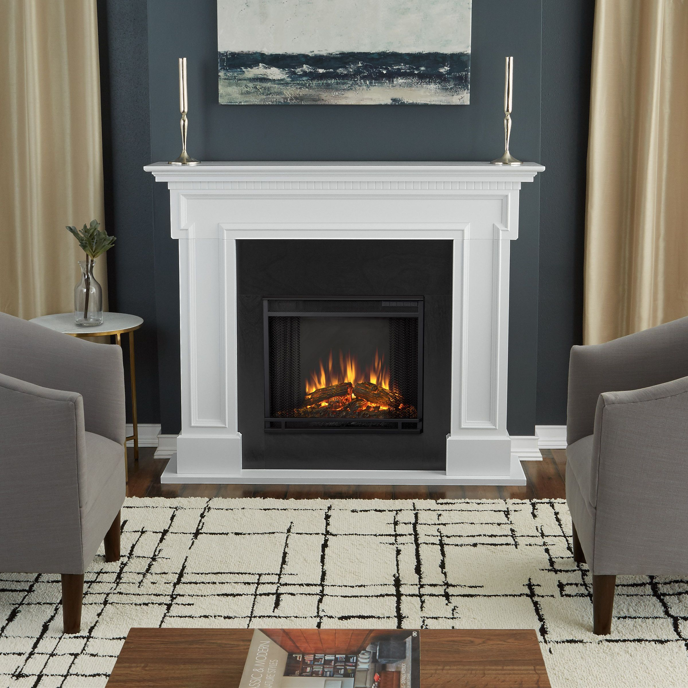 real flame thayer electric fireplace white electric fireplaces