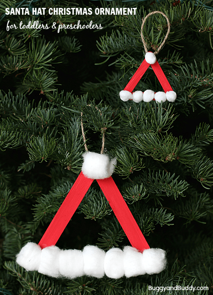 Santa Hat Homemade Christmas Ornament Using Craft Sticks - Buggy and Buddy