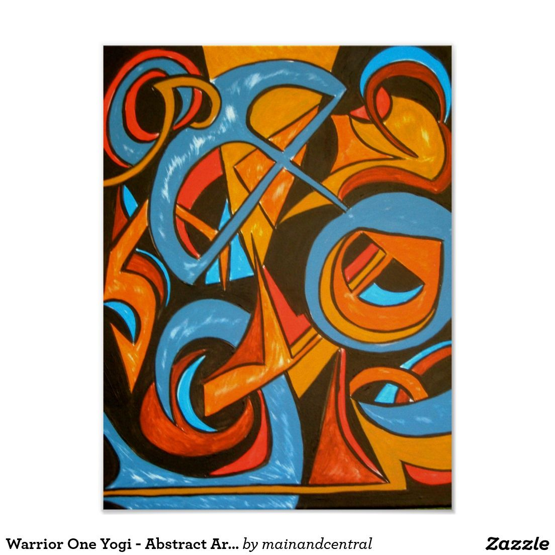 Warrior One Yogi - Abstract Expressionism Poster with Hand Painted Acrylic Painting in Bold Earth Colors