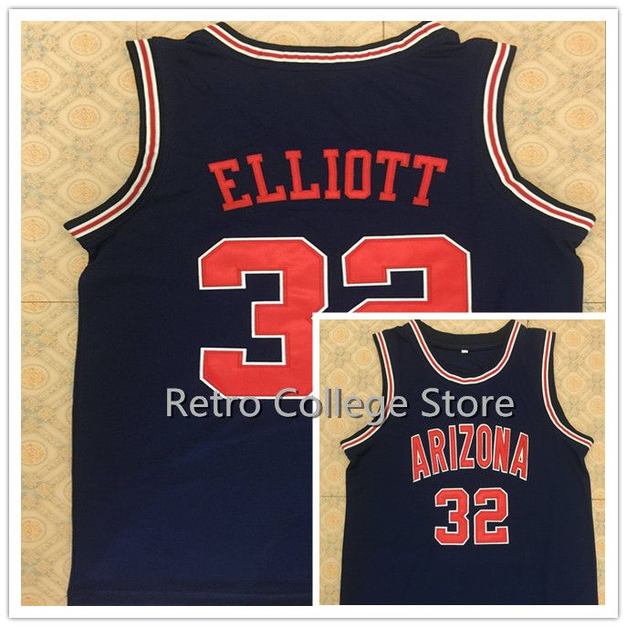 Men s  31 JASON TERRY  10 Bibby  24 Andre Iguodala  32 Sean Elliott Arizona  Wildcats Basketball Jerseys Throwback White Navy Sti  Affiliate a1e332059
