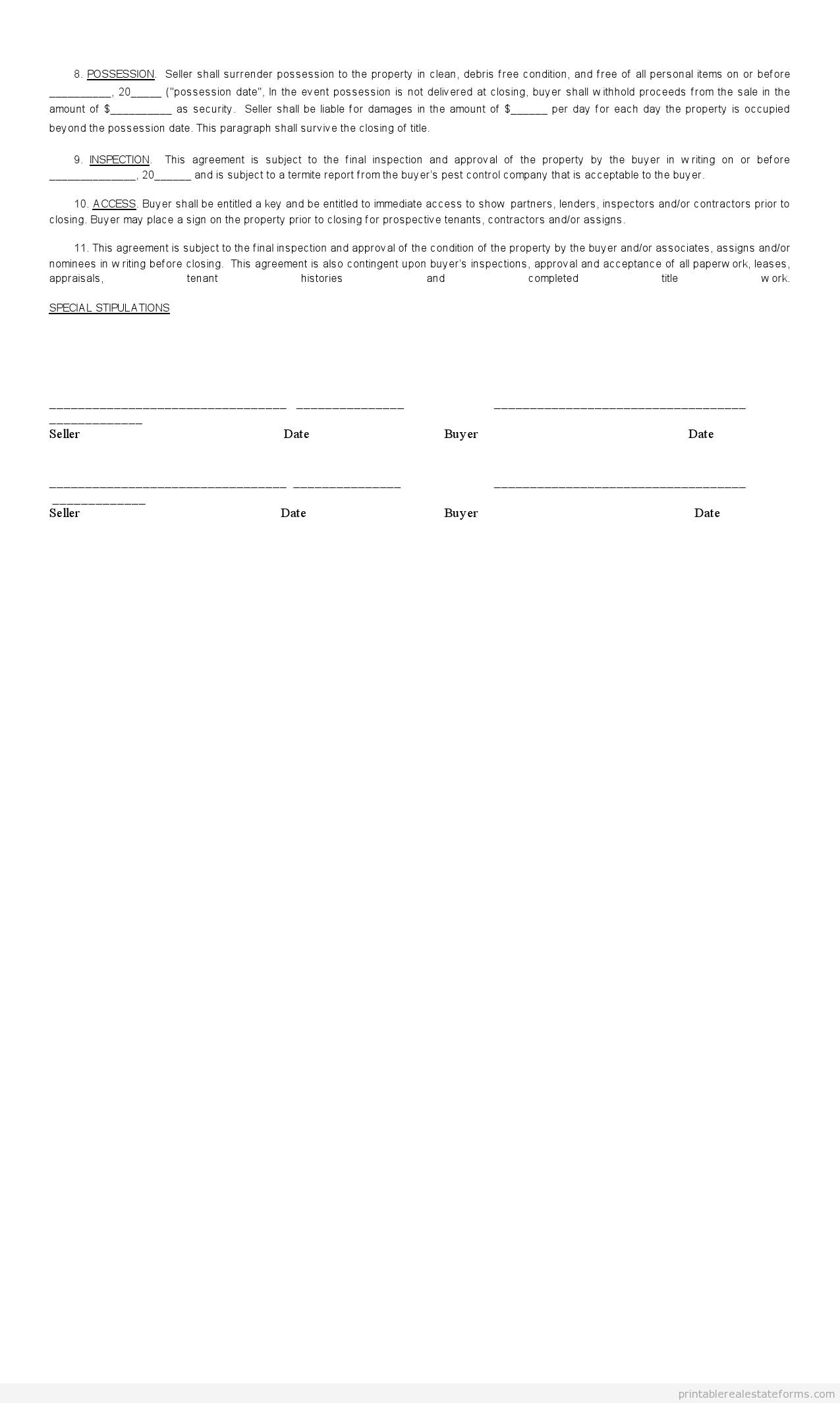 Sample Printable sales contract for buying subject to Form – Free Printable Real Estate Sales Contract