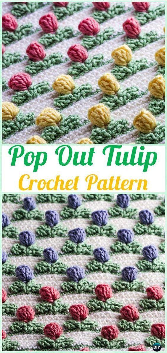 Crochet Pop Out Tulip Stitch Pattern Crochet Flower Stitch Free