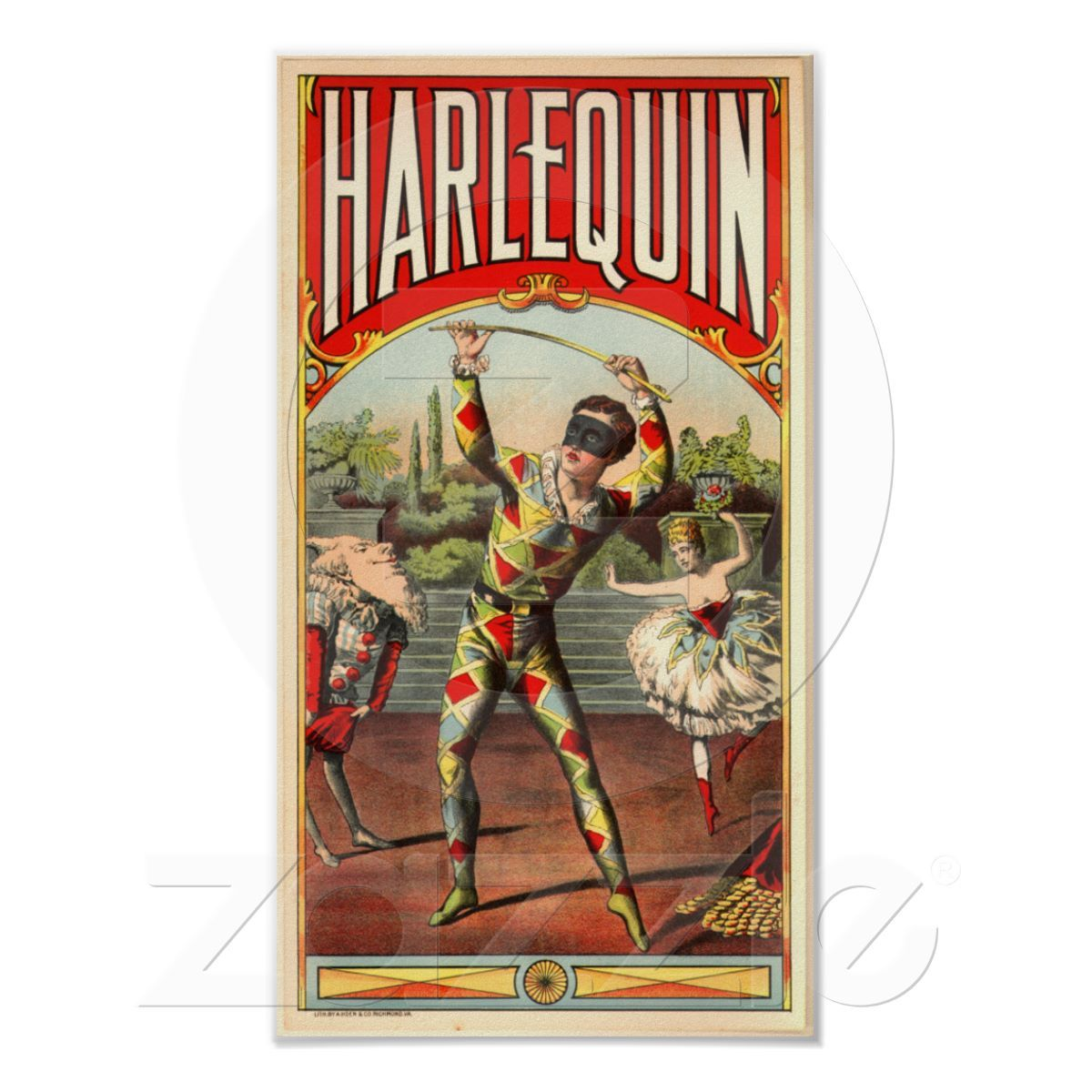 Harlequin Poster Zazzle Com Graphic Design Collection Vintage Posters Circus Poster