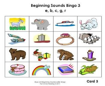 This file includes eight different bingo cards Four beginning