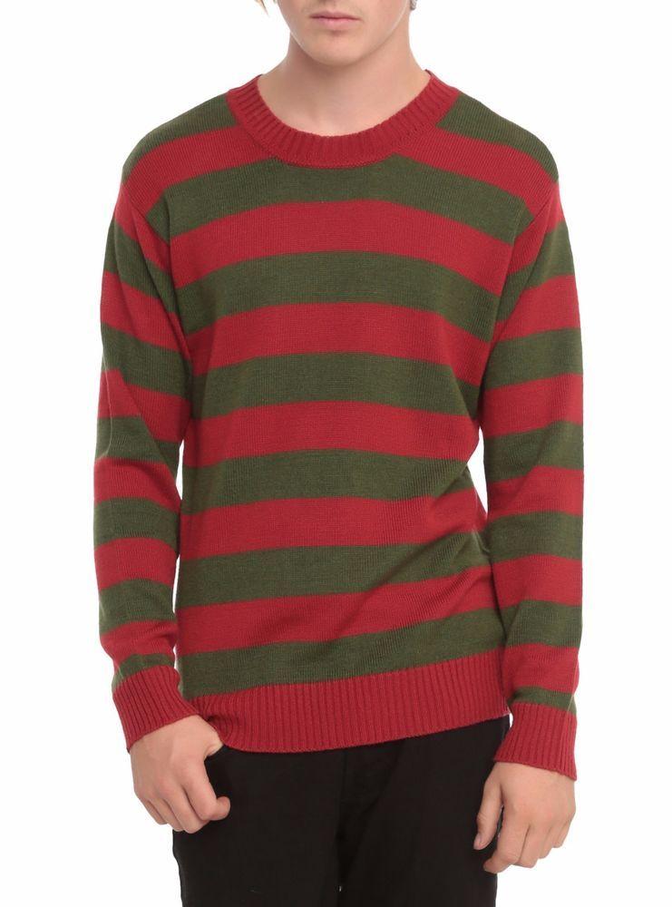 UNISEX RED GREEN FANCY DRESS PARTY FREDDY KRUEGER STRIPED JUMPER HALLOWEEN Size
