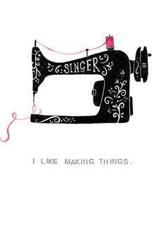 PRINT Vintage Sewing Machine Mixed Media Drawing by flyingshoes ...