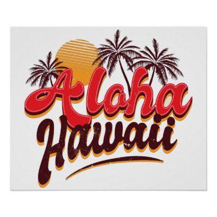 Aloha Hawaii Palm Tree Poster