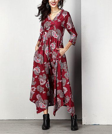 Another great find on #zulily! Black Paisley Shawl Collar Handkerchief Maxi Dress - Plus #zulilyfinds