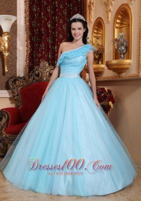 Cheap Fashionable Light Blue Quinceanera Dress One Shoulder Tulle Ruch A-line