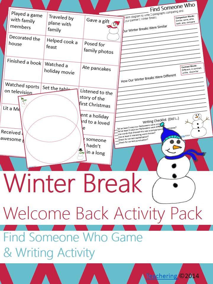 Welcome Back From Winter Break No Prep Ela Activities Tpt