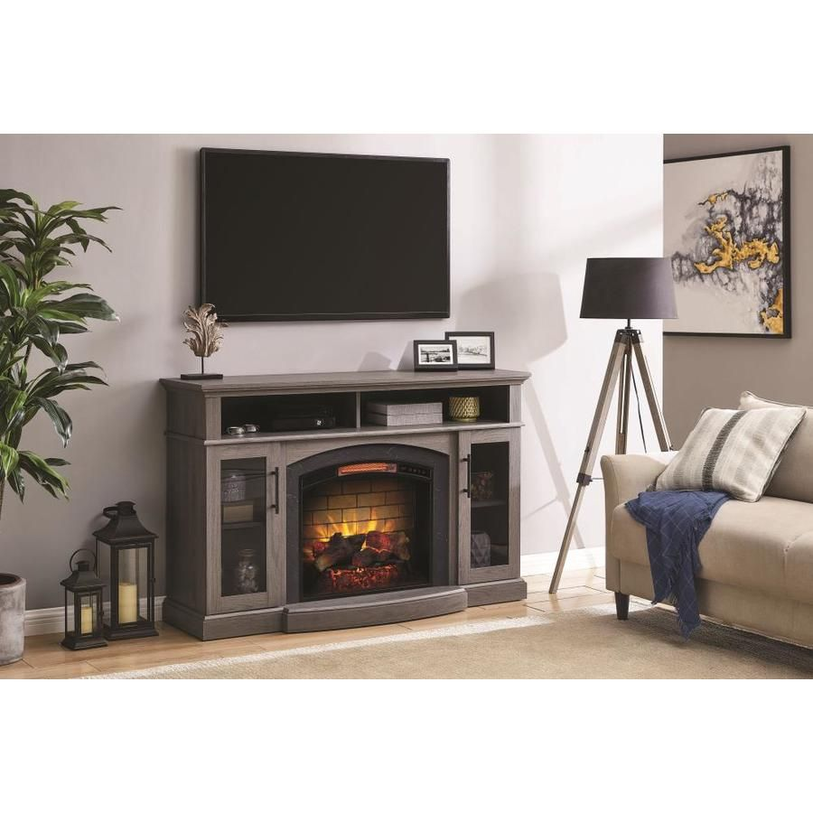 Scott Living 56 In W Gray Ash Infrared Quartz Electric Fireplace