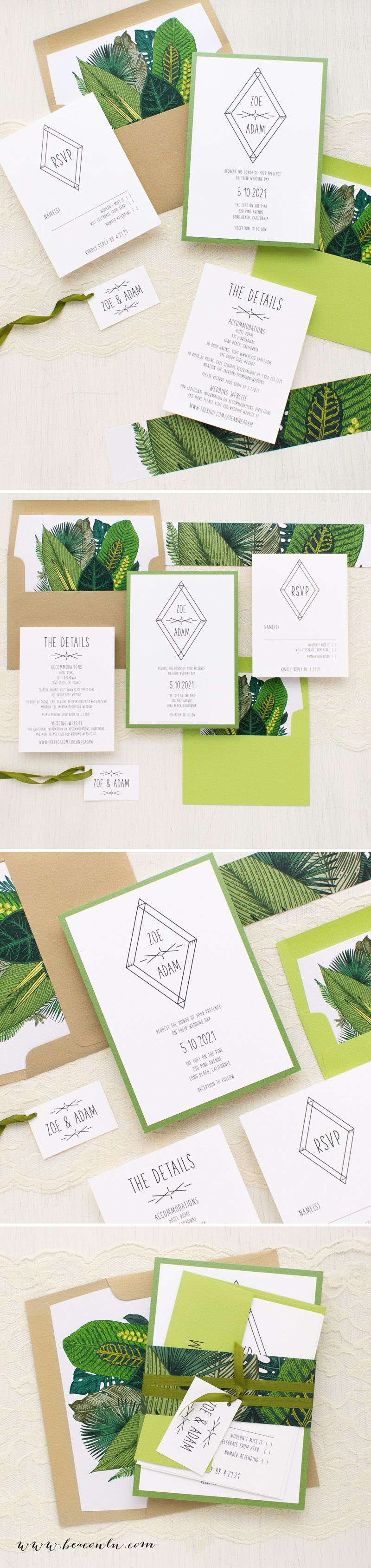 Green Leaf Wedding Invitations | Modern boho, White paper and Fonts