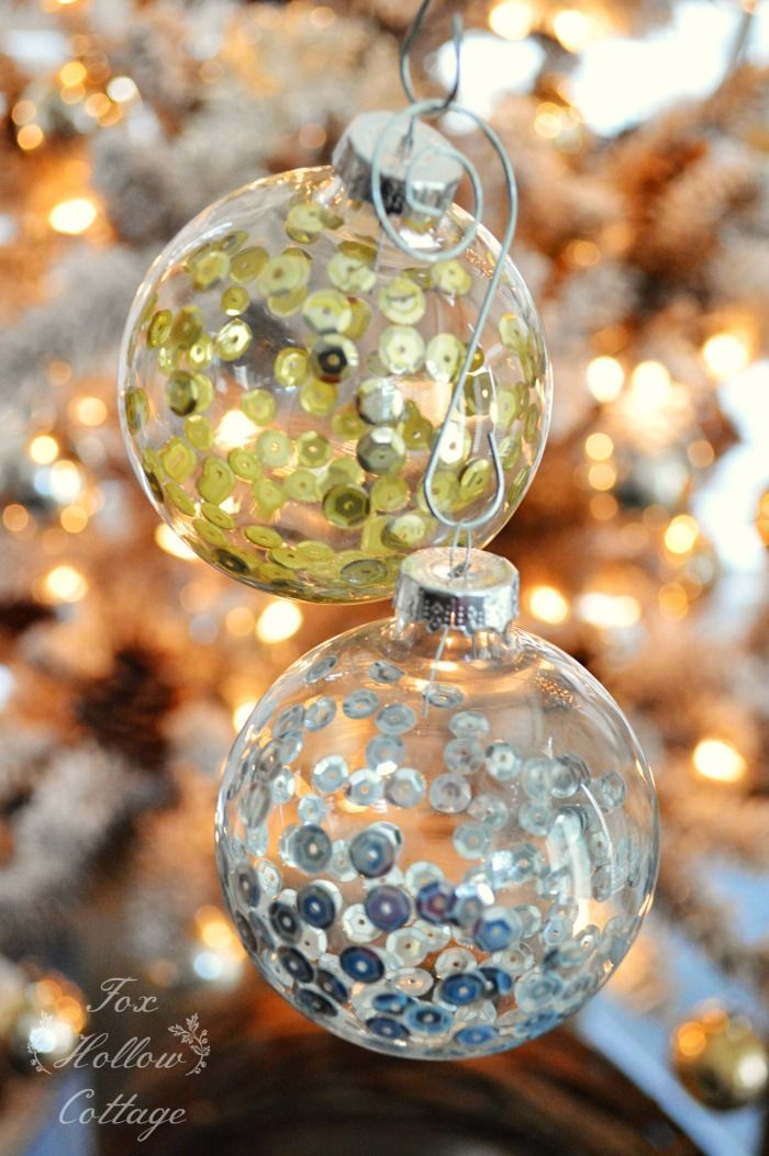DIY Christmas Ornament Craft Sequins in Clear Glass