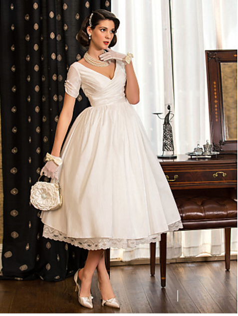 cbe014a86f8 Lanting Bride A-line Princess Petite Plus Sizes Wedding Dress Tea length  V-neck Taffeta - Hippie BLiss