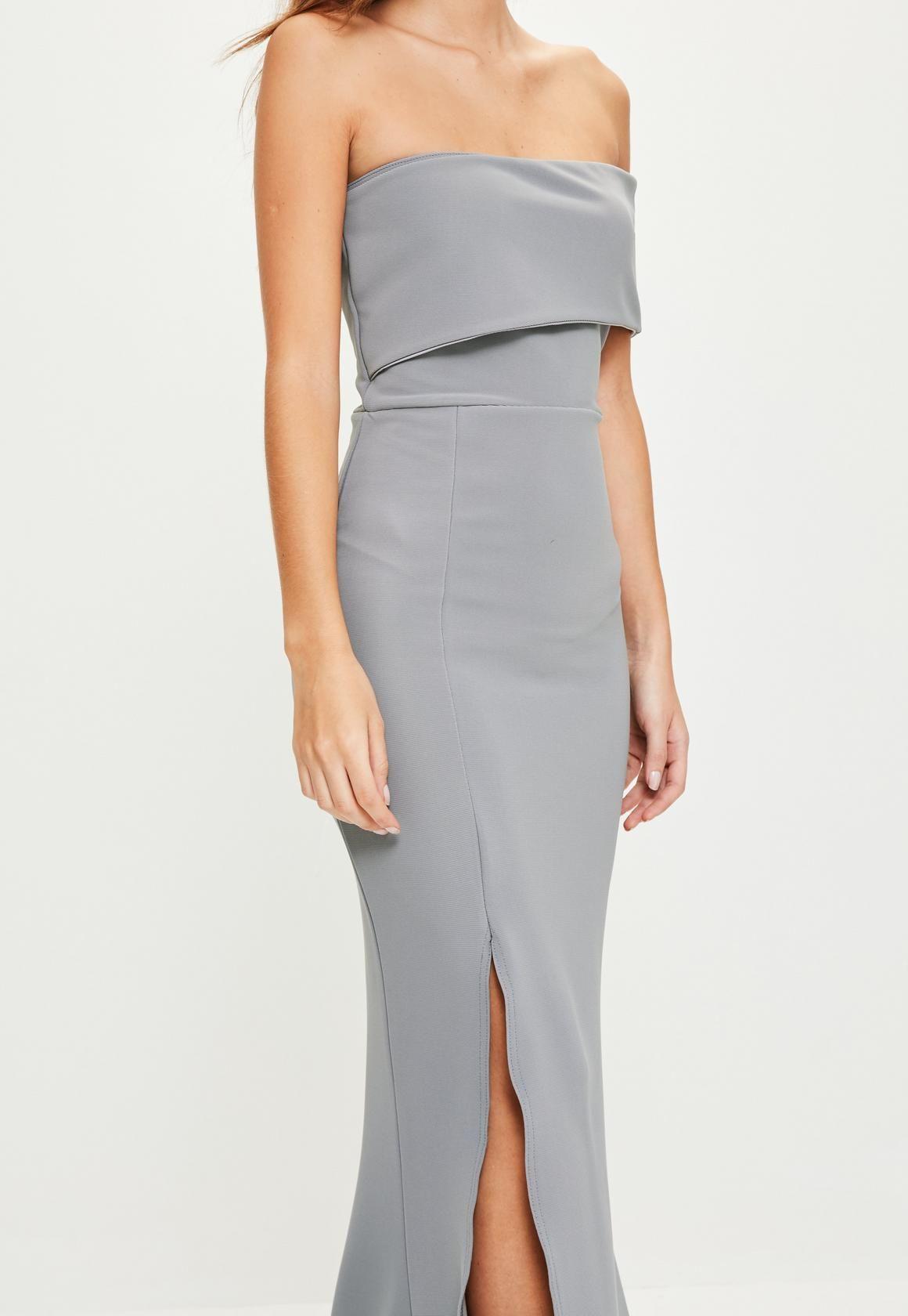 2d138b27771 Missguided - Grey One Shoulder Maxi Dress | wedding | Dresses, Grey ...