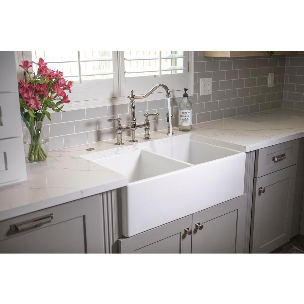 Sinkology Brooks Ii Farmhouse Apron Front Fireclay 33 In 50 50 Double Bowl Kitchen Sink In Crisp White Sk4 With Images Kitchen Layout Kitchen Remodel Contemporary Kitchen