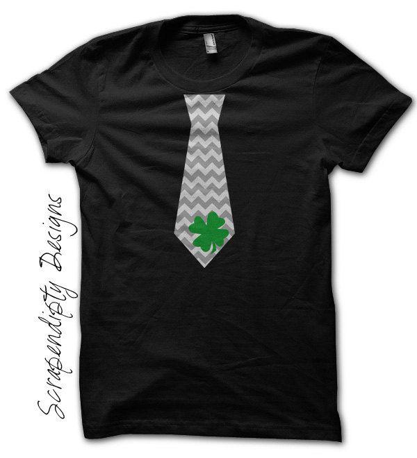 b9da5326cf29 St. Patrick's Day Tie Shirt - Green Shamrock Chevron Tie Tshirt / Boys St  Patricks Day Shirt / Mens Celtic Shirt / Toddler Shamrock Outfit by ...