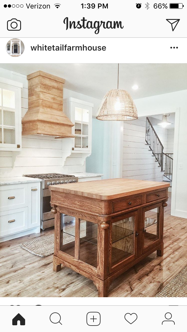 Stained Vent Hood Shiplap Back Splash Stained Island Home Decor Kitchen Home Decor Decor