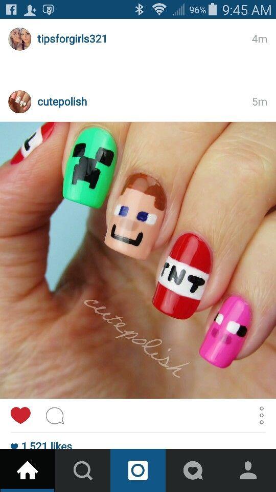 Minecraft Gel Nail Art