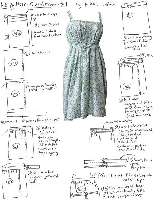 No-Pattern Sundress #1 | sewing | Pinterest | Costura, Molde y Patrones
