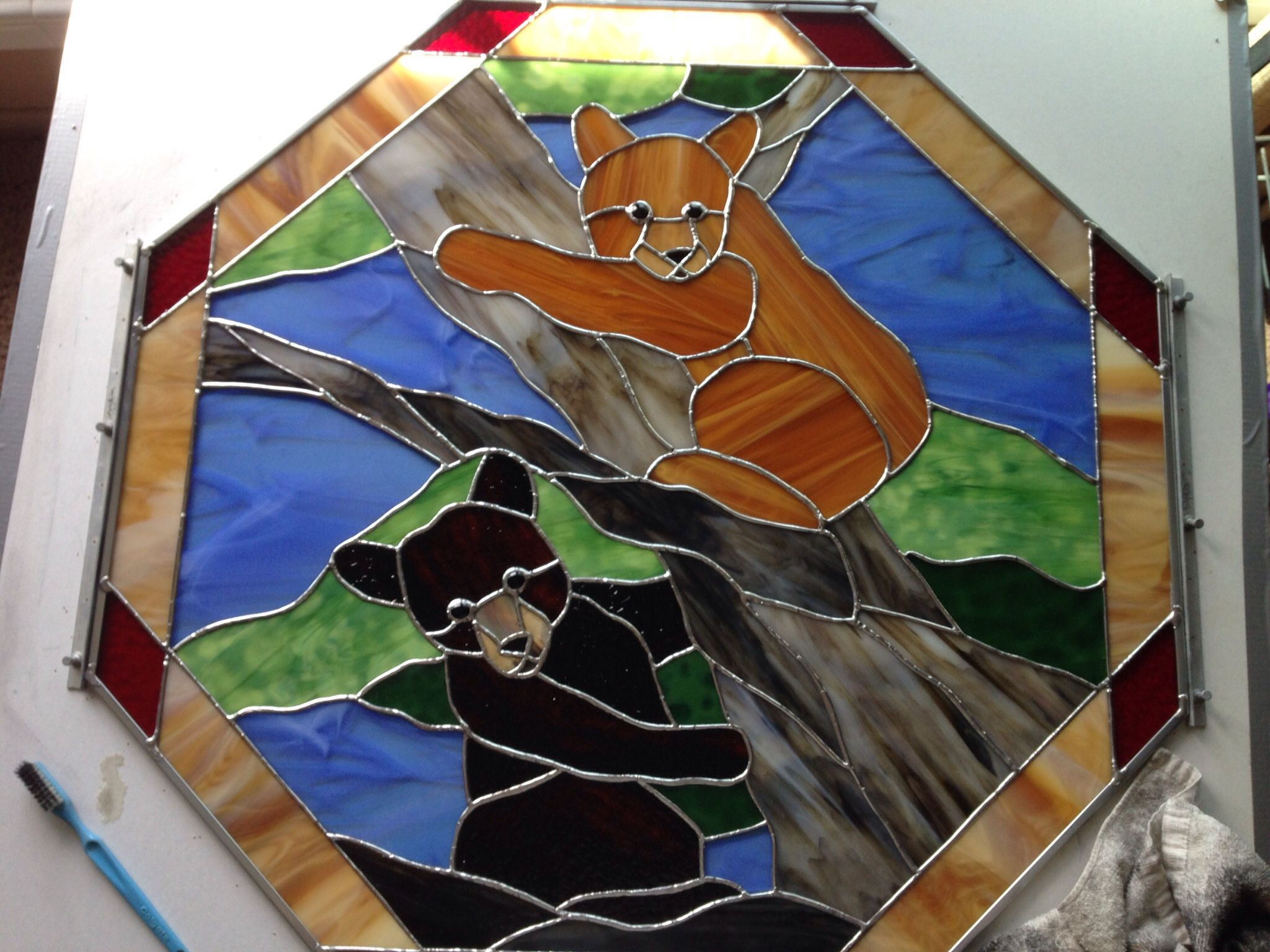 Baby bear by Ardie Stained glass designs, Stained glass
