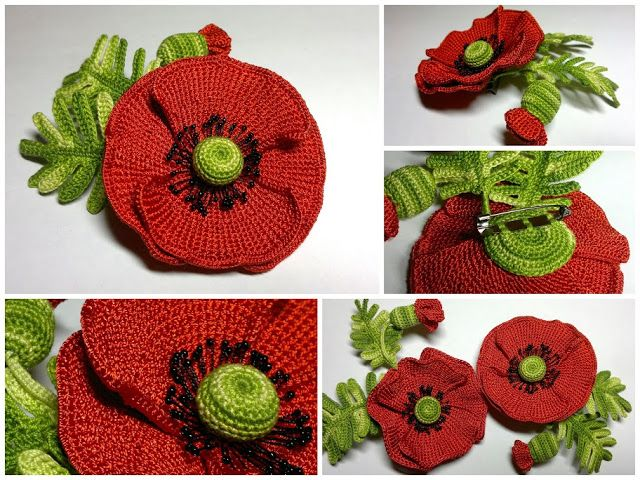 ergahandmade: Big Crochet Poppy + Free Pattern Step By Step | darn ...