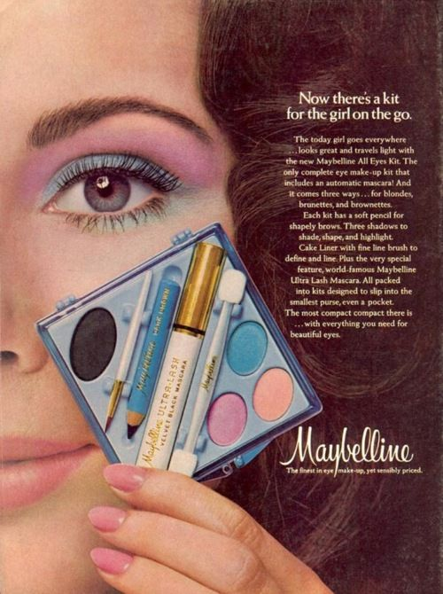 1970s Maybelline cosmetics advertisement. I know I had a couple of those  kits.