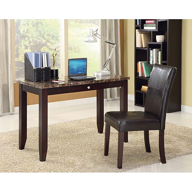 Acme Sean Faux Marble Top Espresso Finish 2-piece Desk Set (Desk and