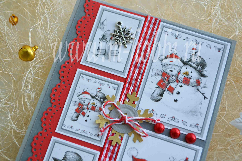 Новогодняя открытка в стиле скрапбукинг своими руками пошагово снеговик