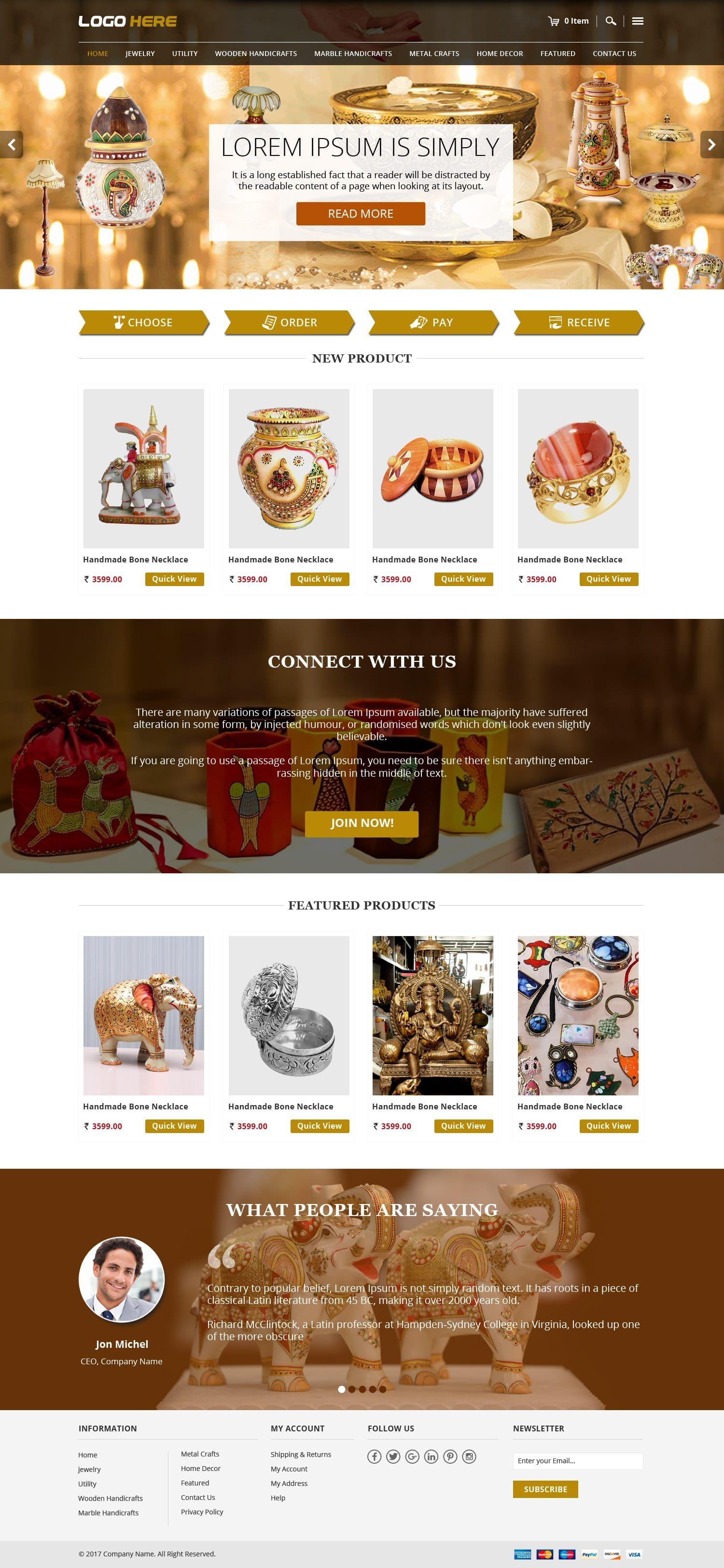 Handicraft E Commerce Website Theme Template Free Psd Design