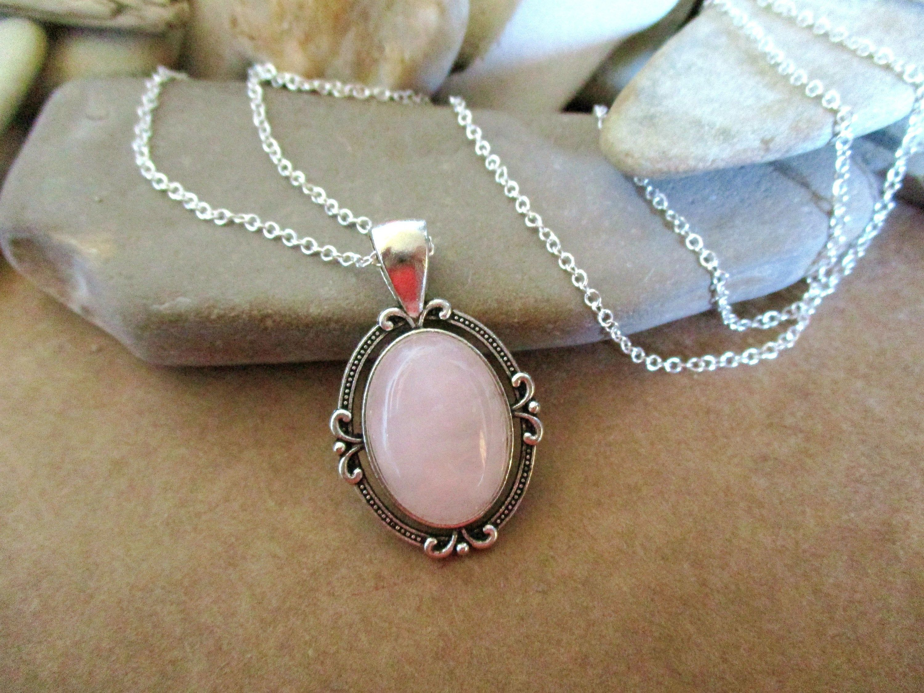 Pretty Rose Quartz Necklace | Unique Pink Gemstone Jewelry | Art Deco Style | Mom Sister Aunt Daughter Grandma Girlfriend Best Friend Gifts