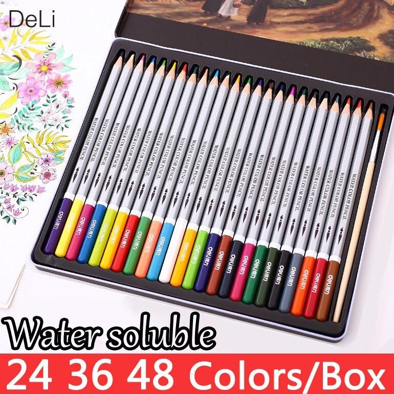 Color Pencil Water 24 36 48colors School Painting Watercolor
