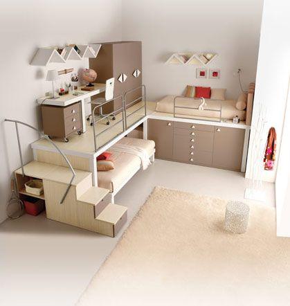 Pas mal comme idée pour des petites espaces La chambre des