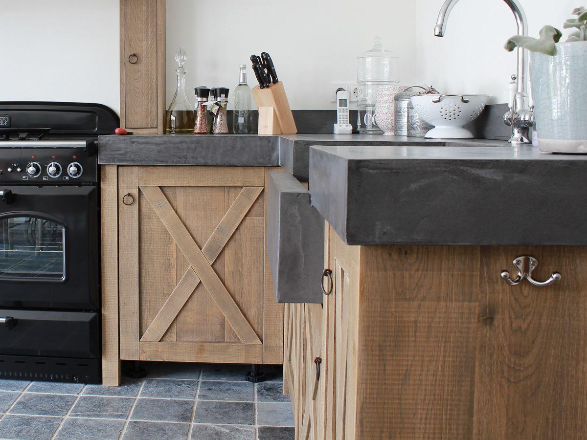 Betonstuc keuken eiken op maat cocinas kitchen