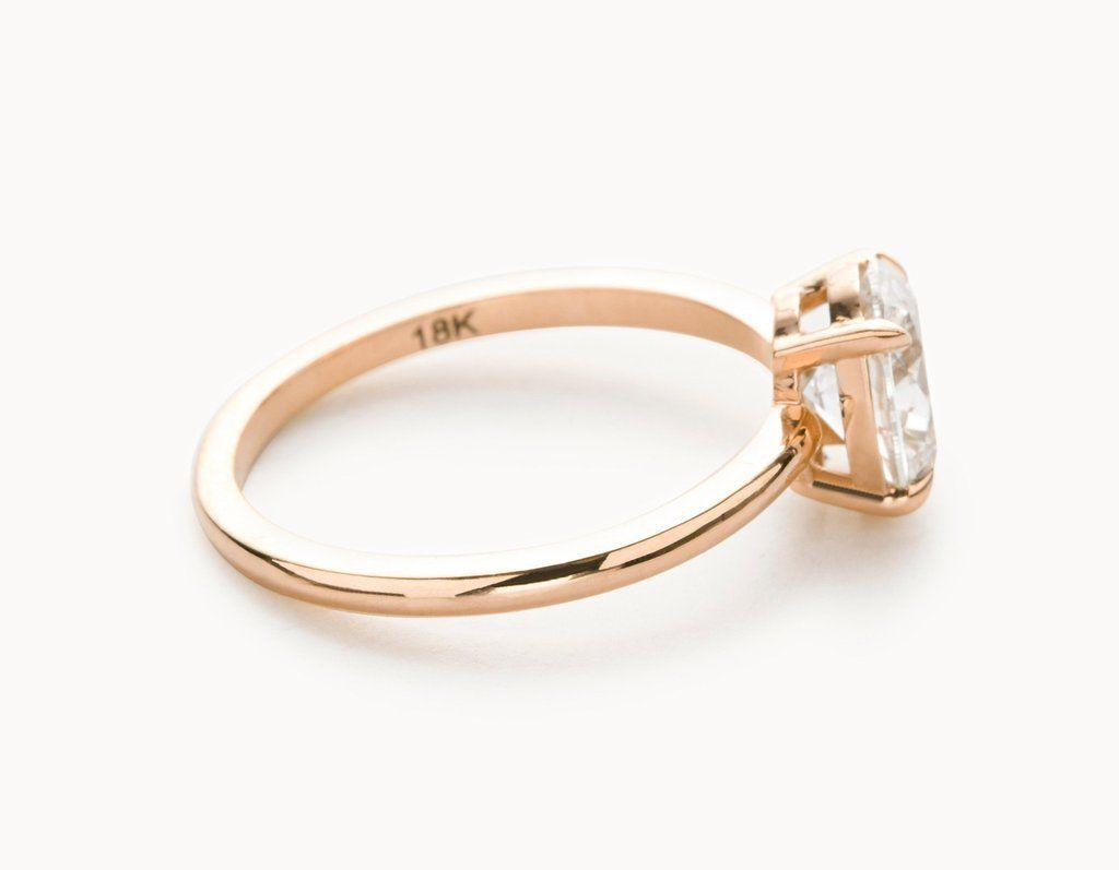 Modern 18k Rose Gold Oval Vertical Setting Diamond Engagement Ring