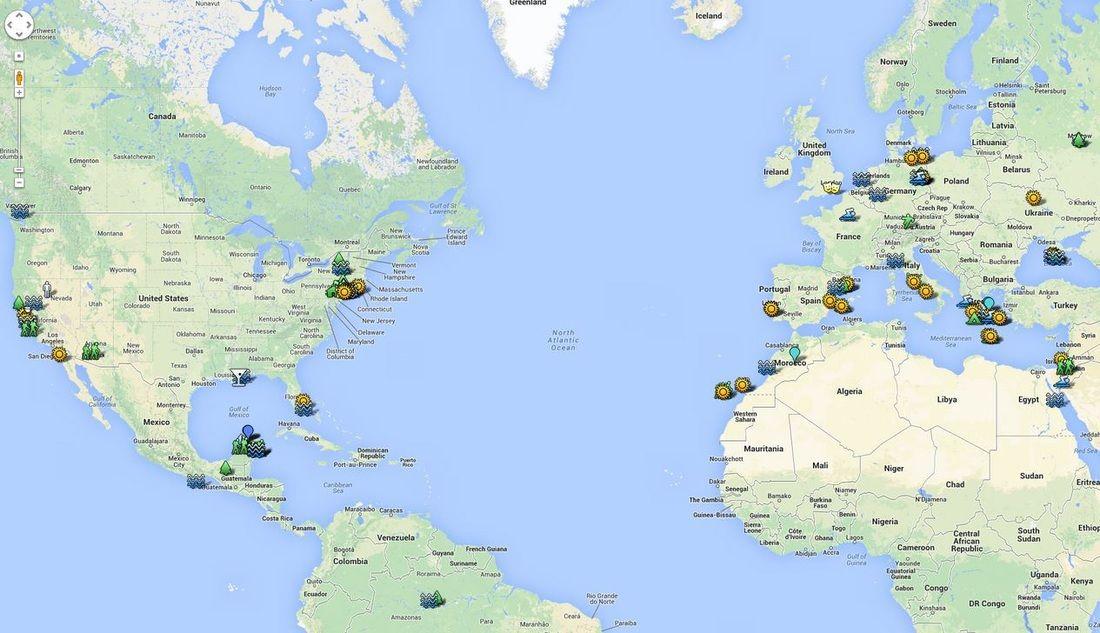 Worldwide nudist map