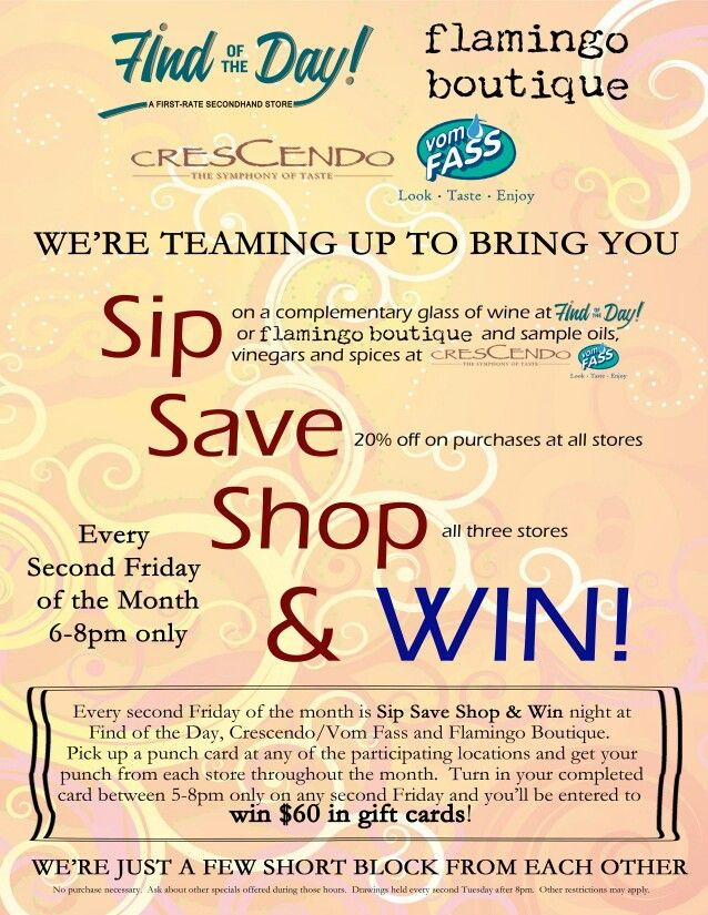Free wine and 20% off entire store TONIGHT (9/12/2014) from 6 till 8 pm. www.findoftheday.co