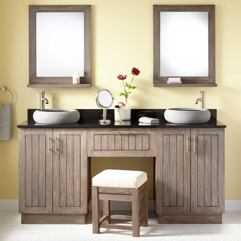 72 montara teak double vessel sink vanity with makeup area gray wash hoffmann bathrooms for Bathroom sink vanity with makeup area