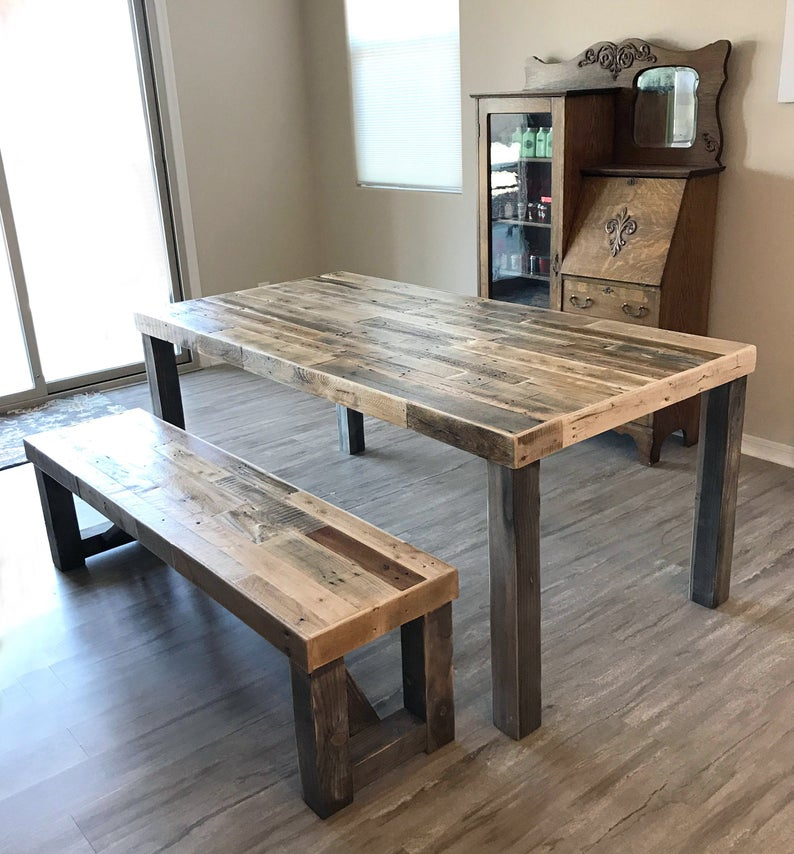 Reclaimed Wood Farm Table And Bench Set Rustic Dining Harvest
